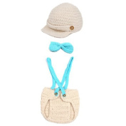 Feiuruhf Crochet Baby Photo Props Boy Girl Cap Beanie with Suspenders Bowtie Nappy Outfit
