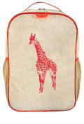 SoYoung Raw Linen Grade School Backpack, Giraffe/Neon Orange