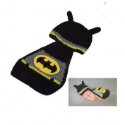 Fast-Flying NewBorn Baby Crochet Knitted Prop Photographic Batman Clothing Style Hats and Cloak Outfits