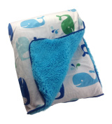 Little Bedding By NoJo Whale Velboa Blanket, Blue