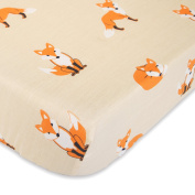 Cuddly Cubs Fitted Crib Sheet - Orange Fox on Beige - Soft Nursery Bedding for Boys and Girls - Best Infant Bed Sheets For Baby Shower Gift