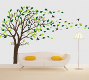 Tree Wall Decals Brown Tree Blowing in the Wind Vinyl Wall Sticker Nursery Baby Tree Wall Decals Living Room Bedroom Wall Decor