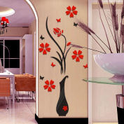DIY Wall Sticker, Mikey Store 3D Vase Flower Tree Home Decor