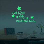 "Marsway ""WE LOVE YOU TO THE MOON AND BACK"" Letters Glow Sticker Removable Luminous Night Wall Decal Sticker for Room"