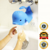 MiniOwls BATHTUB SPOUT COVER - SAFETY GUARD, Blue Whale that Fits Most of the Faucet - 3% is donated to Autism Foundation.