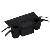 Baby Stroller Organiser Pram Storage Bags Buggy Cup Holder Parent Bag - Black - Water Resistant, Universal Fit