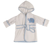 Little Beginnings Infant Plush Terry Bath Robe with Elephant Applique