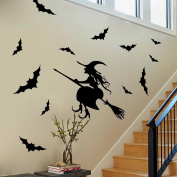 Fullkang Happy Halloween Witch Bats Wall Sticker Window Home Decoration Decal Decor