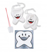 Milestone Moments! Tooth Fairy Keepsake Happy Tooth Pouch, Tooth Saver Necklace & Happy Tooth Shaped Sparkle Sticker!