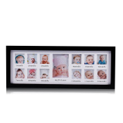 Feibi (TM) My First Year Baby Photo Frame, Baby Keepsake Frame, Wood Kids Picture Frame, 12 Photo Moments Frame