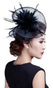 Fancyland Women Feather Fascinators Bride Net Feather Flowers Hair Clips Barrettes Hairdress