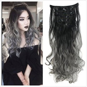Best selling!Good quality 7PIECES 60cm Synthetic Long Wavy/Curly Clip In Hair Extensions for a Full Head Clip in Hair Extensions