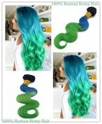"Full Head Hair Weft 100g Length 14"" 16""18""20"" 22"" 24"" 100% Human Hair Extensions -A Summer Colour T1BGreen+Blue"