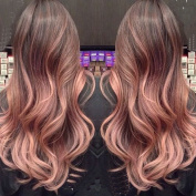 Silky Straight Rose Gold Ombre Highlights Balayage Hair Extensions of Clip in Extension Medium Brown Fading to Rose Gold Virgin Human Hair 120g/set
