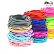 NALATI 50pcs Fashion Women Girl Assorted(Random Colour) Elastic Ponytail Holders Hair Tie Assorted Rope Rubber Bands Accessories