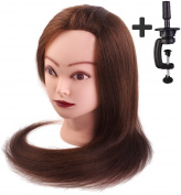 50cm Cosmetology Mannequin Head,70% Human Hair + 30% Animal Hair, Hair Cutting Manikin Heads with Table Clamp Holder, Brown Colour