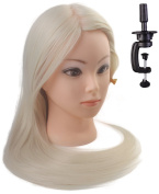 60cm Cosmetology Mannequin Manikin Training Head with Synthetic Hair, Practise Training Hair Styling Mannequin Head - Blonde-with Table Clamp Holder