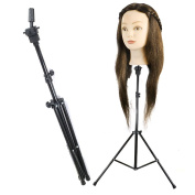 Reelva Black Metal Tripod Mannequin Head Holder Hairdressing Training Stand Adjustable