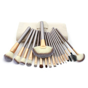18 Make up Brushes Set - Synthetic Hair, Aluminium Ferrule, Wooden Handle, Cream Leather Bag by VIEUSINE