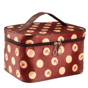 Txian Lady Dual Zipper Cosmetic Bag Hand Bag Polka Dot Toiletry Bag Make-up Bag Portable Hand Case Bag