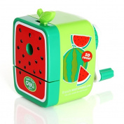 Cute Fruitage School stationery Kids Pencil Sharpener Hand Crank Manual Desktop Sharpener for Office Classroom-Green Watermelon