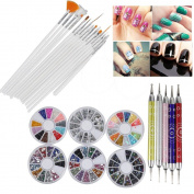 Biutee Nail Art Manicure 15Pcs Nail Art Brushes 3D Multicolor Nail Rhinestones Decoration, 5Pcs Double Side Dotting Pen Tools