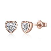 BAMOER Stylish Love Heart 925 Sterling Silver Earrings Studs Rose gold plated CZ