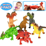 Learning Resources,20cm Dinosaur Dragons Toys Zoo World Set(6 piece) Assorted Rubber Figure With Study Card,Realistic Large Looking,Great Safety Materials And Box For Party Favours Bathtub Toys