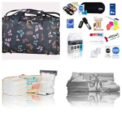 Luxury pre-packed hospital bag/maternity/holdall for Mum & Baby - 27 items! Navy butterflies - FREE NEXT WORKING DAY DELIVERY
