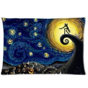 Poesia Nightmare Before Christmas Starry Night 2 Pillowcases 50cm X 80cm ,Double Sides