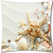A-SLLE Square Decorative Throw Pillow Case Cushion Cover Ocean Park Beach Theme Starfish 18 X 18 Two Sides Printed 48