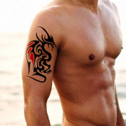 TAFLY Men's Temporary Tattoo Coloured Tribal Body Art Transfer Sticker 3 Sheets ...