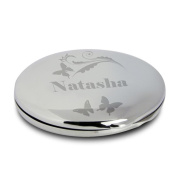 Personalised Compact Mirror And Pouch Butterfly Swirl Design