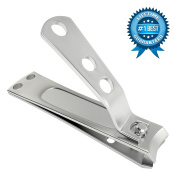 ClipPro (Formerly KlipPro) Fingernail Clipper - Brushed Stainless Steel, Easy Grip Handle, Built-In Nail File, 6.4cm Long