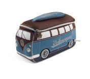 Official VW Camper Van Waterproof Neoprene Mens Toiletry Wash Bag - Blue + Brown