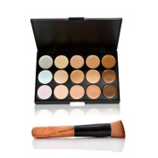 XINW 15 Colours Face Cream Concealer Concealer Camouflage Palette+Foundation Brush Kit