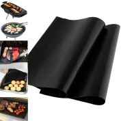 Livivo ® Pack of 2 Black Heavy Duty Reusable Non-Stick Wipe Clean Oven Liner Sheets