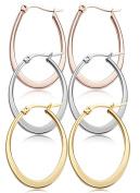 Jstyle Stainless Steel Teardrop Hoop Earrings for Women Hypoallergenic 3 Pairs a Set 35MM