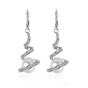 Women's Classic White Gold Plated Cream Simulated Pearl Crystal Rhinestone Dangles Drop Bridal Earrings