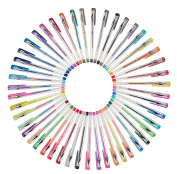 Creyart Gel Pen Set With 48 Gel Ink Pens in Black, Glitter, Metallic, Swirl & Neon Colours - Perfect for Colouring, Writing & Art Projects