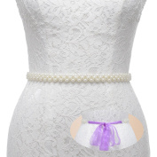 Remedios Ivory Pearls with Organza Ribbon Sash Belt for Wedding Party Dress Outfit Accessoriese,Lilac