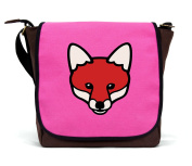 Canvas Fox Messenger Bag/Satchel | Pink | By Paw Prints