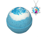 Frozen BUBBLE Bath Bomb with Surprise Frozen Necklace Inside - in Gift Box - Kid Safe - Stain Free - Made in the USA - by Two Sisters Spa