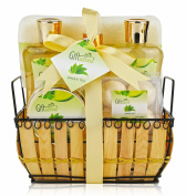Green Tea Gift Basket Set- Rejuvenating Fragrance- Shower Gel, Bubble Bath, Shower Crystals, Fizzers, Body Spray, Exfoliating Sponge- Best for Women/ Teen/ Christmas/ Valentine/ Birthday & More