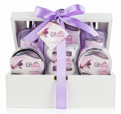 Lavender Gift Basket Set- Seductive & Sensual Fragrance- Shower Gel, Bubble Bath, Body Scrub, Hand Lotion, Shower Crystals, Fizzers- Best for Women/ Teen/ Christmas/ Valentine/ Birthday & More