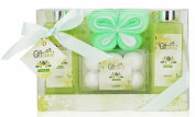 Spa Basket, Bath Gift Set with Seductive Vanilla Fragrance, Includes Shower Gel, Bubble Bath, Bath Salts, Butterfly Shaped Exfoliating Sponge - Perfect Holiday or Special Occasion Gift for Women, Men