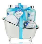 Spa Basket, Bath Gift Set with Ocean Bliss Fragrance, Includes Shower Gel, Bubble Bath, Body Scrub, Bath Salts, Shower Crystals, Exfoliating Sponge, Special Occasion Gift for Women, Men