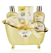 Spa Basket, Bath Gift Set with Rose & Jasmine Fragrance, Includes Shower Gel, Bubble Bath, Body Scrub, Shower Crystals, Fizzers, Exfoliating Sponge, Special Occasion Gift for Women, Men