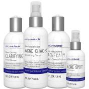Natural Acne Treatment Kit 4 Bottle Set - Acne Face Wash, Oil Free Acne Toner, Acne Treatment Moisturiser For Acne Prone Skin, Acne Spot Treatment