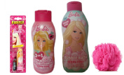 Barbie Bath Ensemble with 2-in-1 Shampoo & Conditioner, Bubble Bath, Bath Puff & Toothbrush